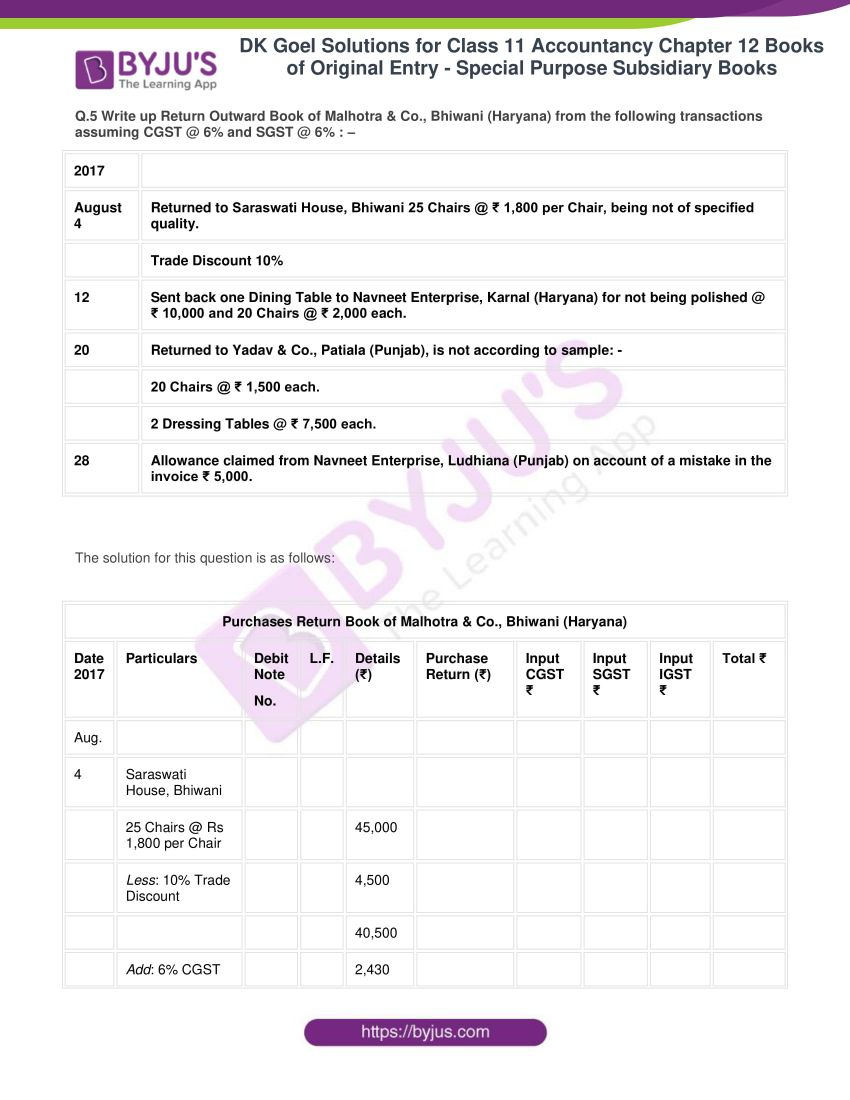 dk goel solutions for class 11 accountancy chapter 12 subsidiary books 12