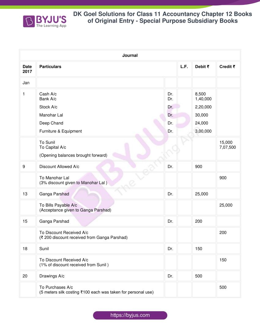 dk goel solutions for class 11 accountancy chapter 12 subsidiary books 27