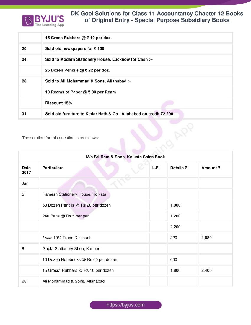 dk goel solutions for class 11 accountancy chapter 12 subsidiary books 32