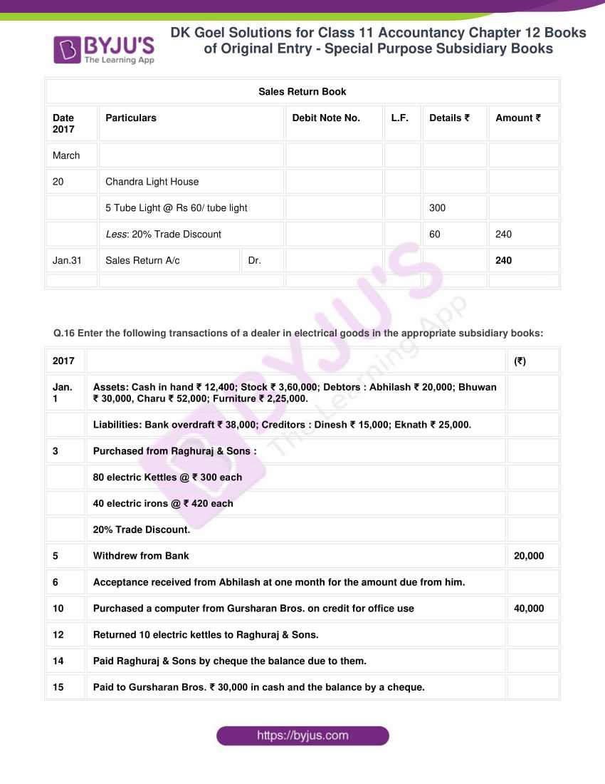 dk goel solutions for class 11 accountancy chapter 12 subsidiary books 38