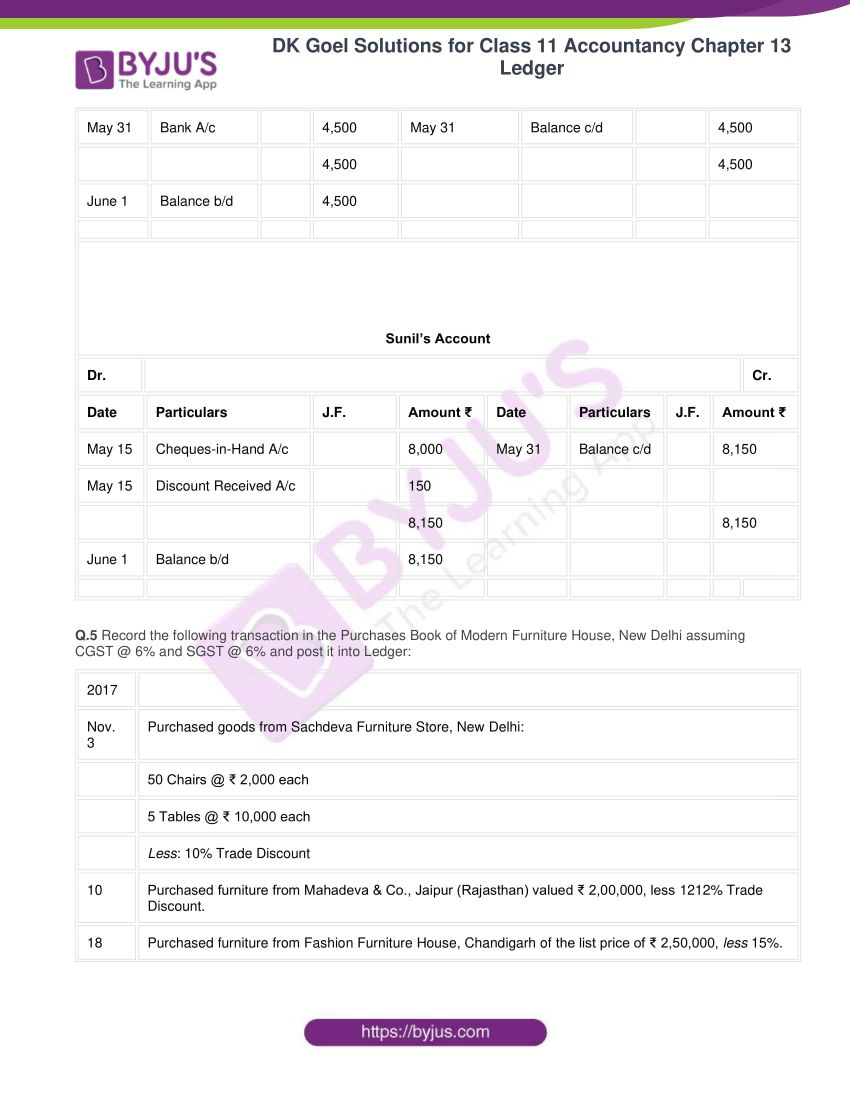 Dk goel solutions for class 11 accountancy chapter 13 ledger 31