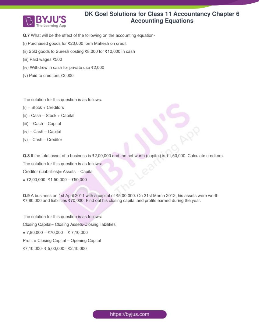 dk goel solutions for class 11 accountancy chapter 6 equations 03