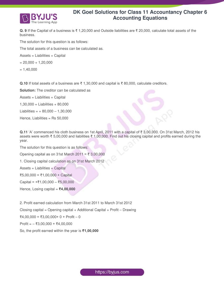 dk goel solutions for class 11 accountancy chapter 6 equations 20