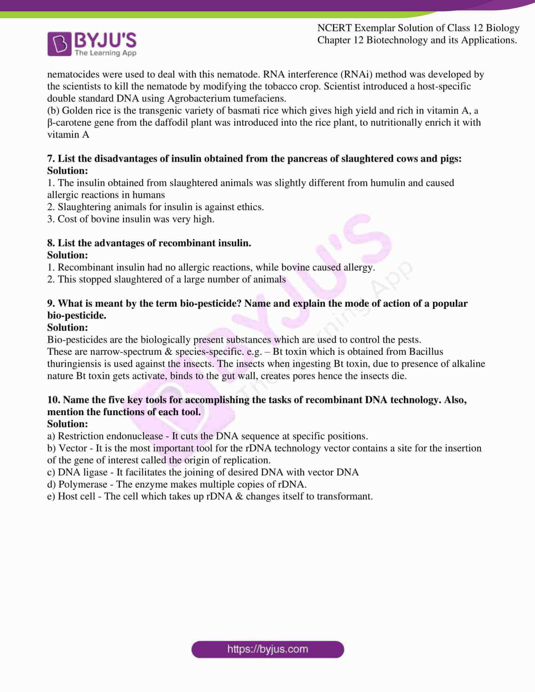 ncert exemplar solution of class 12 biology chapter 12. 10