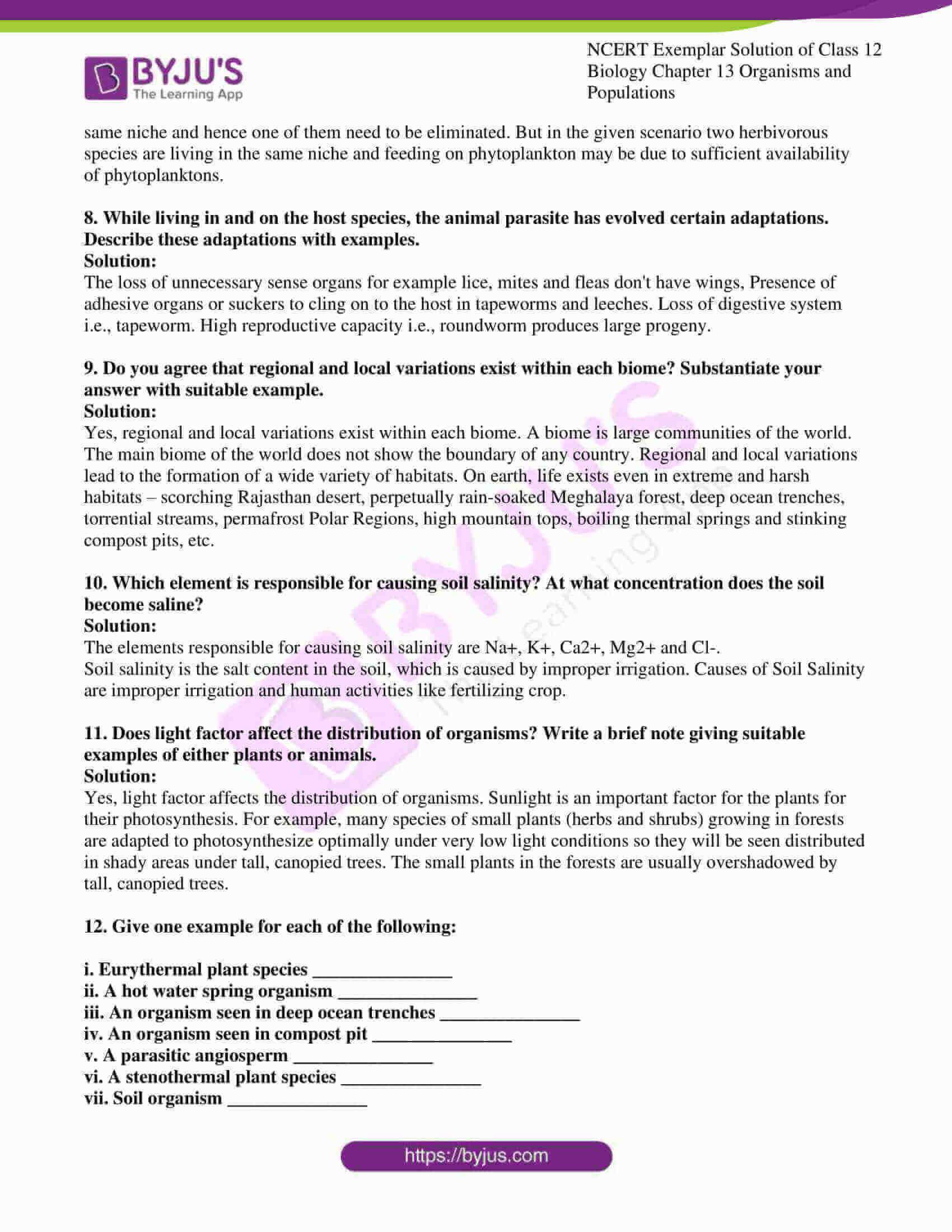 ncert exemplar solution of class 12 biology chapter 13 15