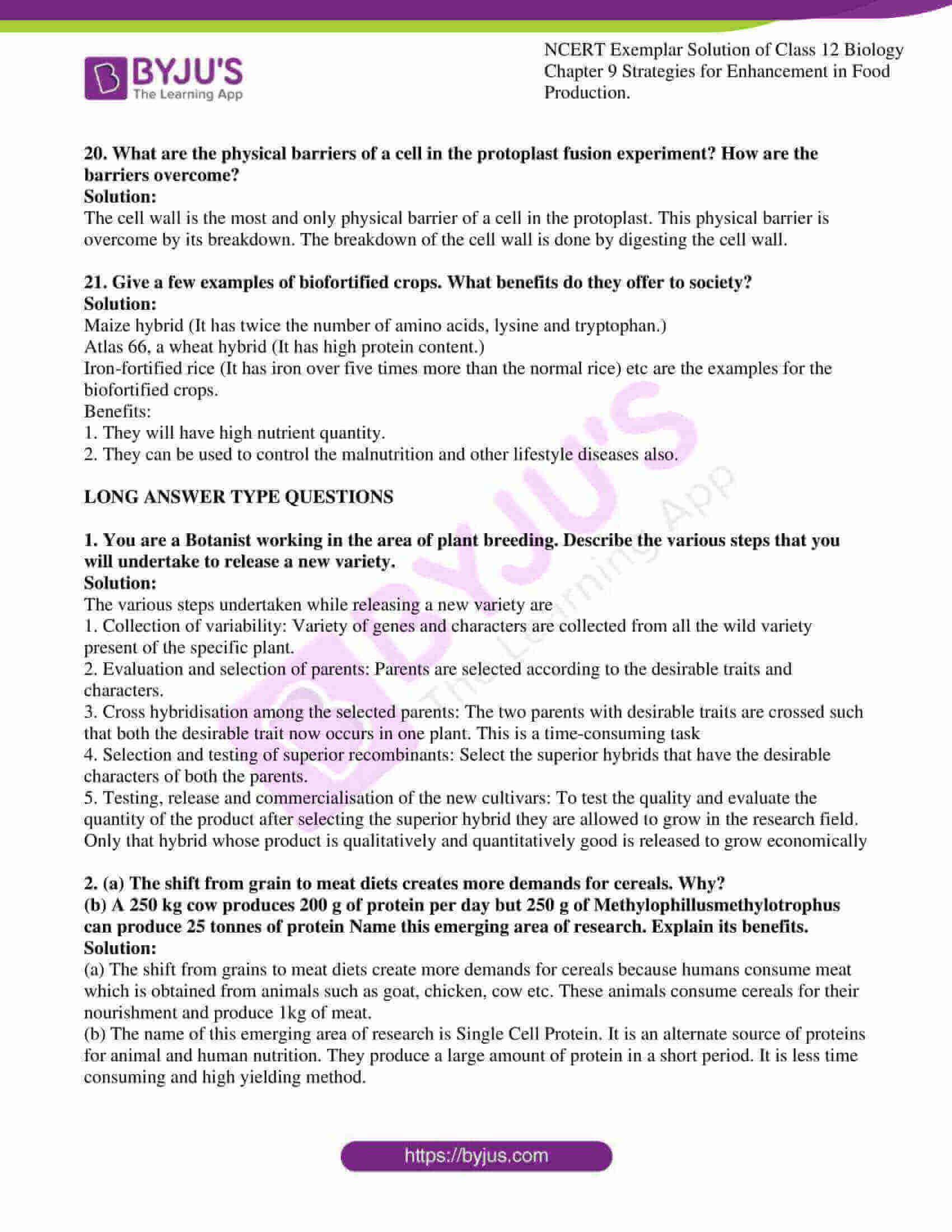 ncert exemplar solution of class 12 biology chapter 9 12