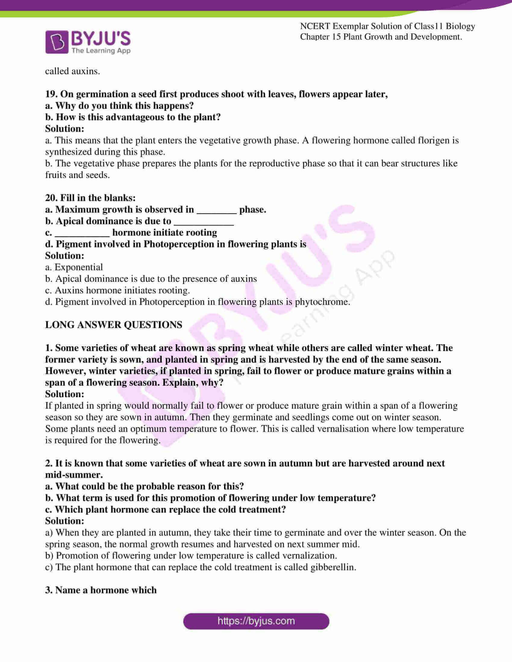 ncert exemplar solutions class 11 biology chapter 15 10