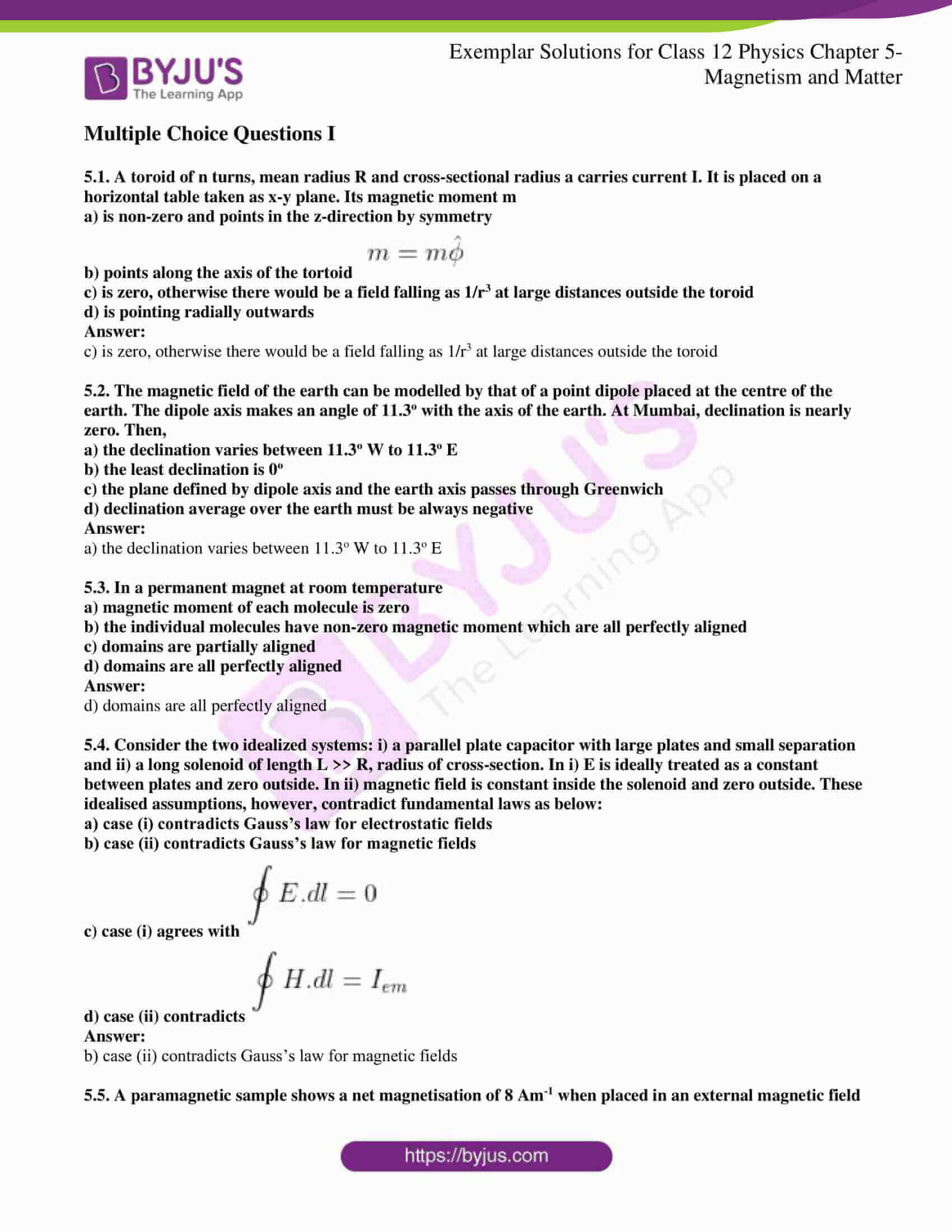 ncert exemplar solutions for class 12 physics chapter 5 01