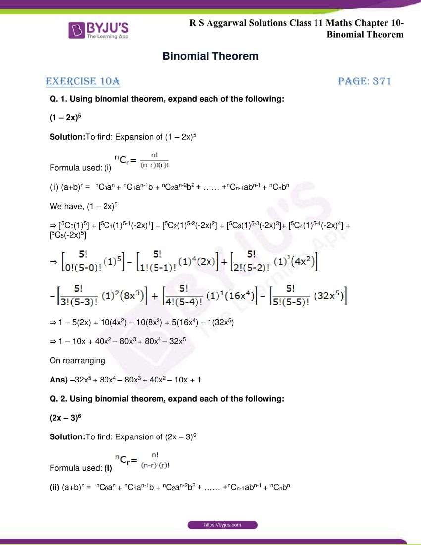 r s aggarwal solutions class 11 maths chapter 10 binomial theorem 01