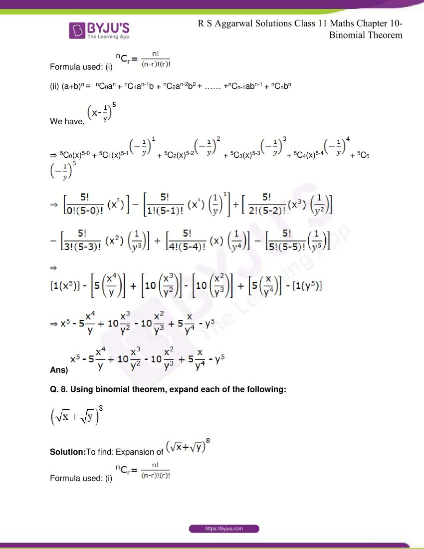 r s aggarwal solutions class 11 maths chapter 10 binomial theorem 07