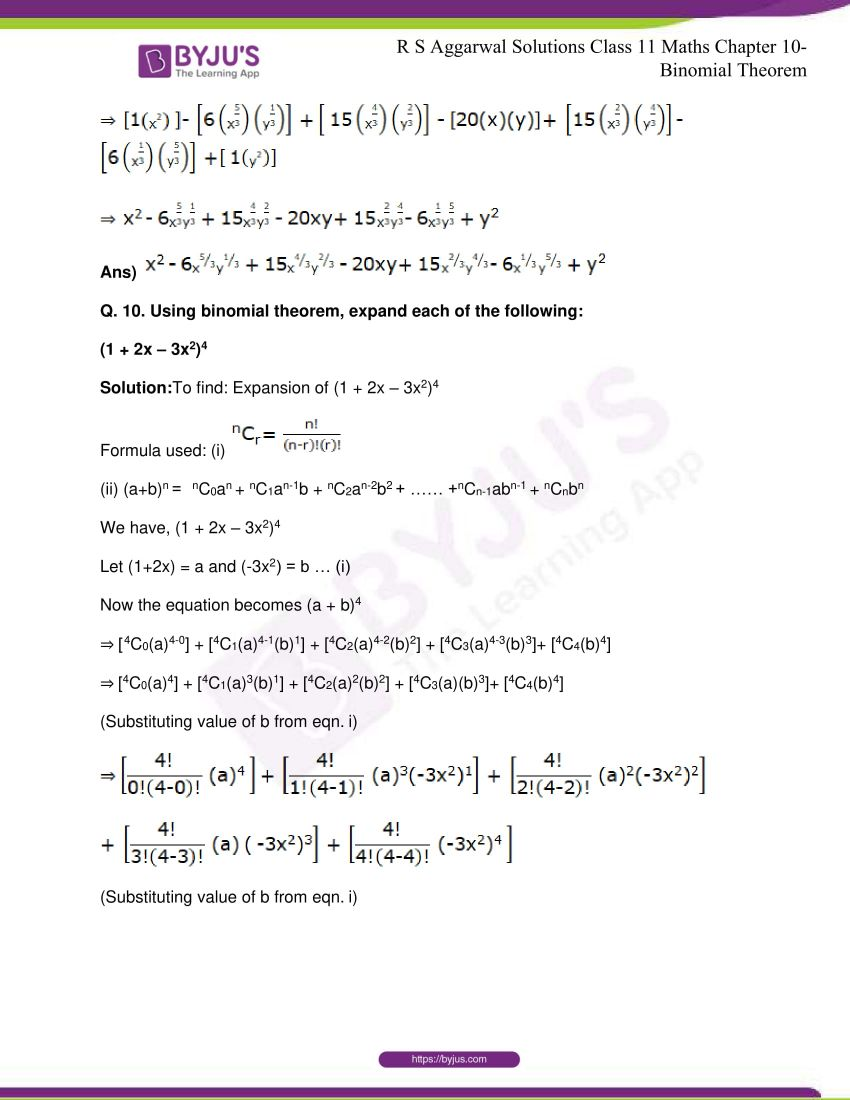 r s aggarwal solutions class 11 maths chapter 10 binomial theorem 10