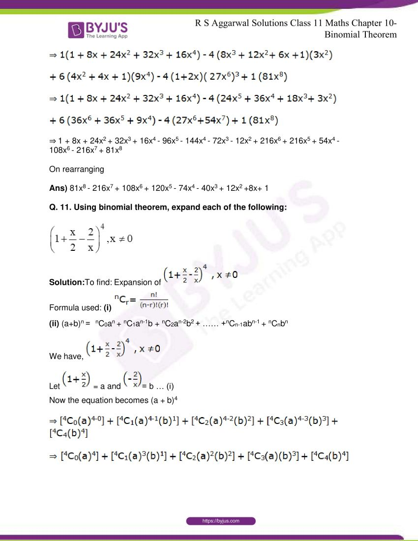 r s aggarwal solutions class 11 maths chapter 10 binomial theorem 12