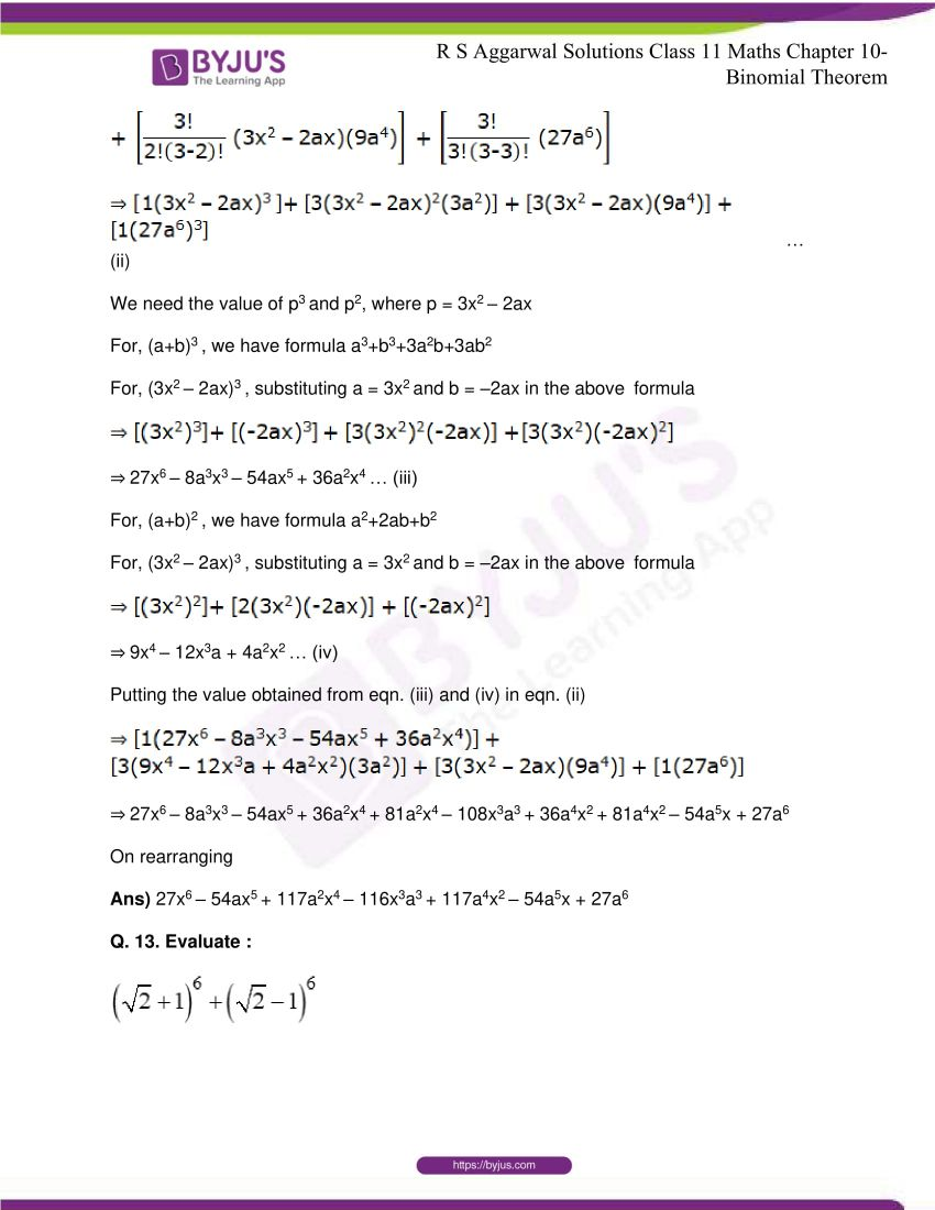 r s aggarwal solutions class 11 maths chapter 10 binomial theorem 16