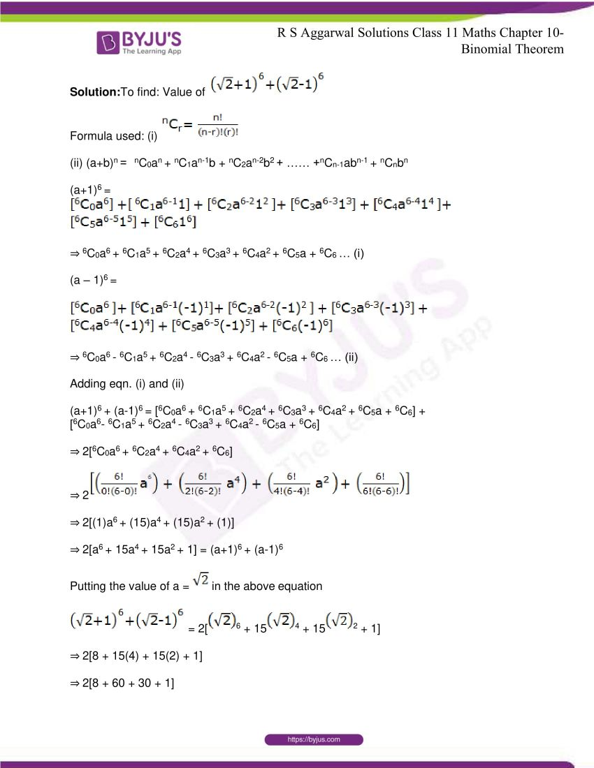 r s aggarwal solutions class 11 maths chapter 10 binomial theorem 17