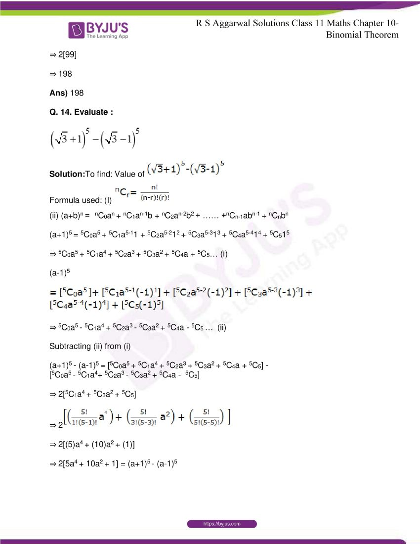 r s aggarwal solutions class 11 maths chapter 10 binomial theorem 18