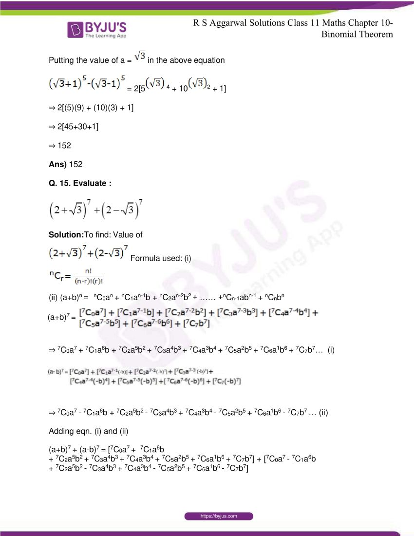 r s aggarwal solutions class 11 maths chapter 10 binomial theorem 19