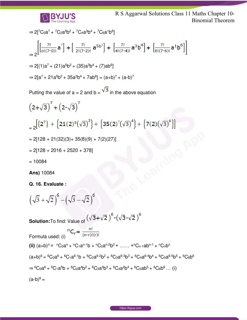 r s aggarwal solutions class 11 maths chapter 10 binomial theorem 20