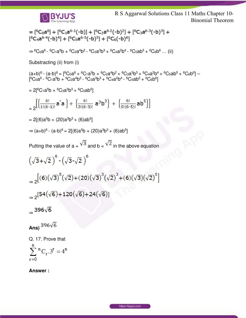 r s aggarwal solutions class 11 maths chapter 10 binomial theorem 21