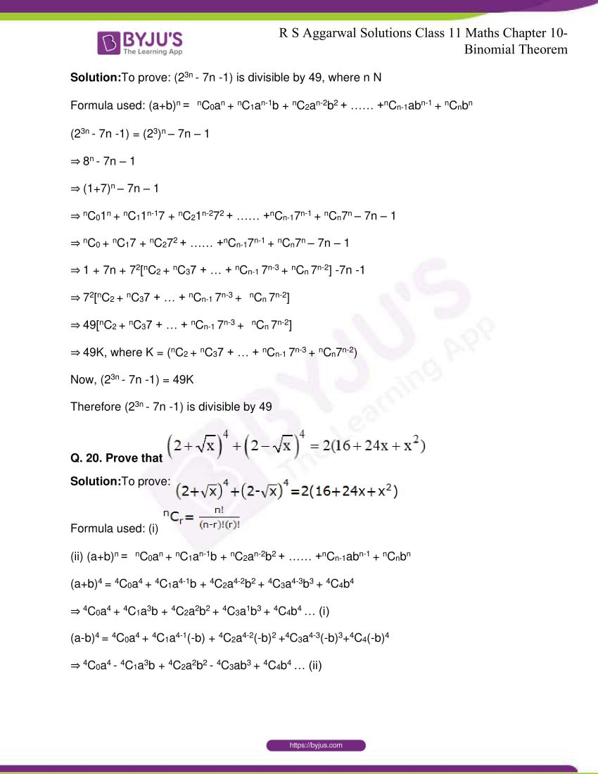 r s aggarwal solutions class 11 maths chapter 10 binomial theorem 25