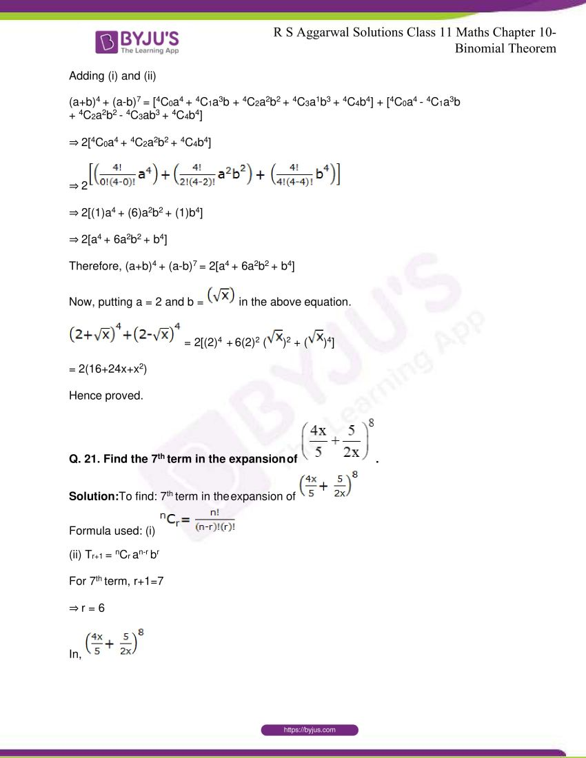 r s aggarwal solutions class 11 maths chapter 10 binomial theorem 26