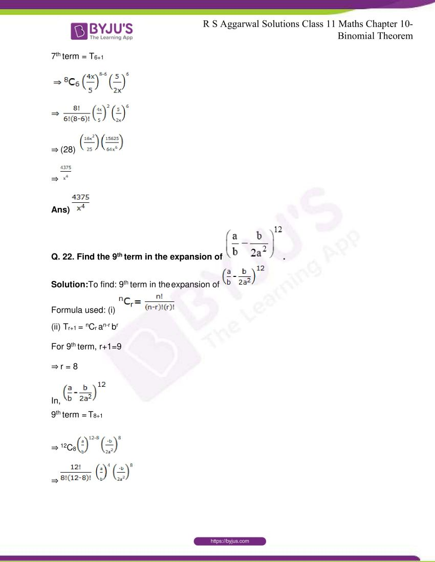 r s aggarwal solutions class 11 maths chapter 10 binomial theorem 27