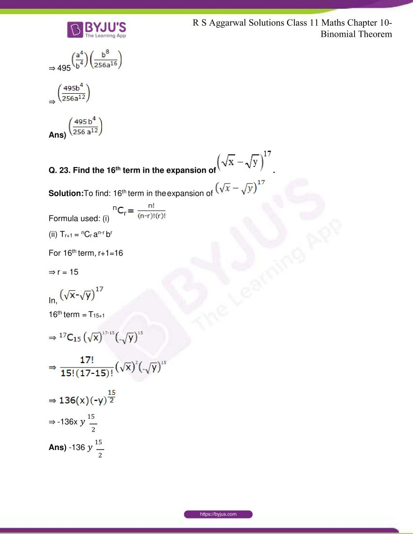 r s aggarwal solutions class 11 maths chapter 10 binomial theorem 28