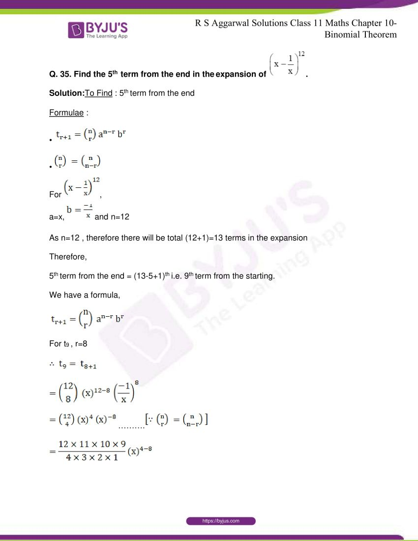 r s aggarwal solutions class 11 maths chapter 10 binomial theorem 45