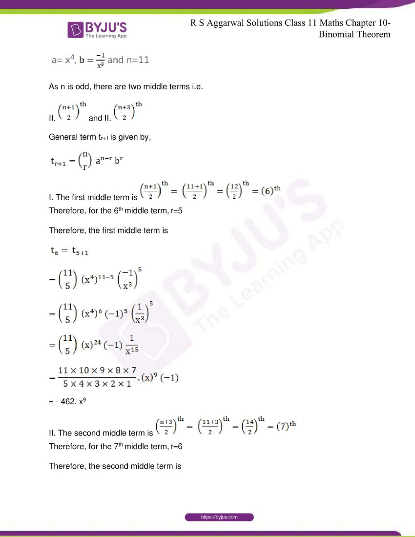 r s aggarwal solutions class 11 maths chapter 10 binomial theorem 55