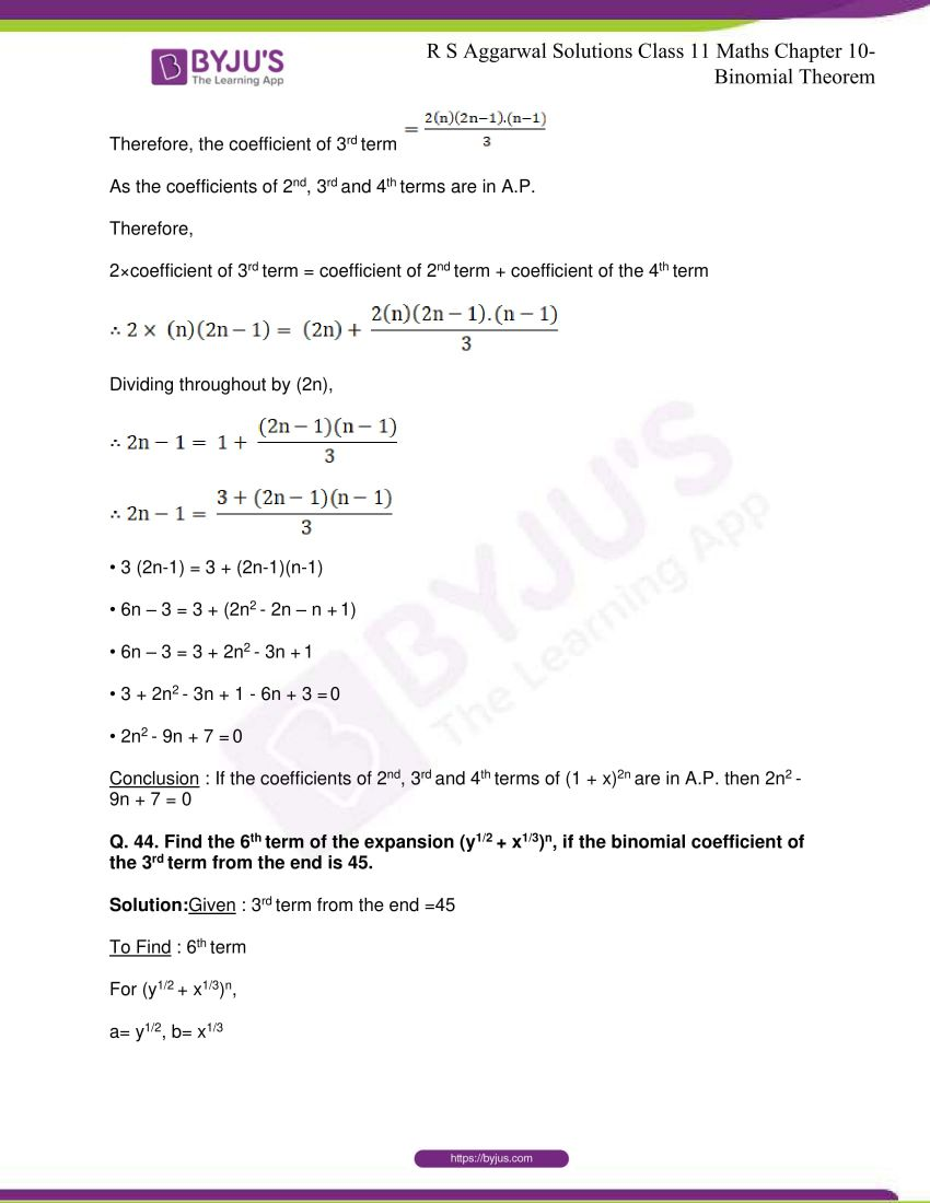 r s aggarwal solutions class 11 maths chapter 10 binomial theorem 70