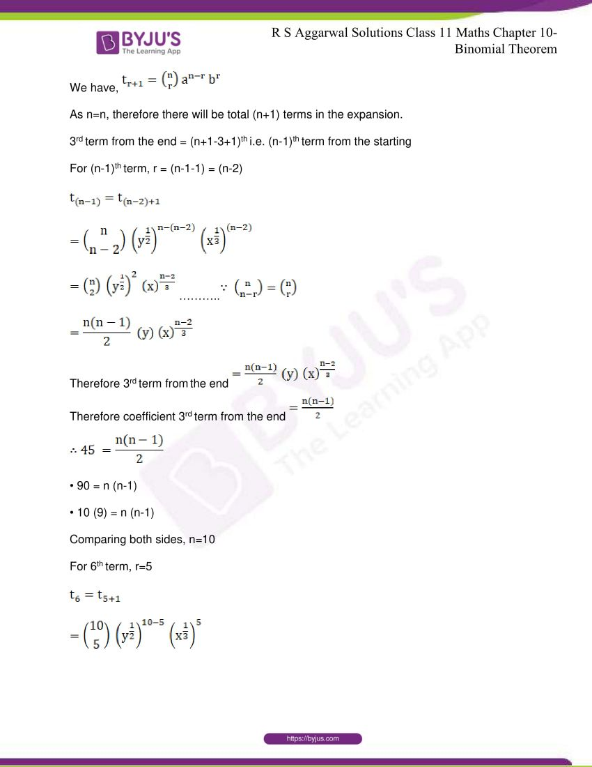r s aggarwal solutions class 11 maths chapter 10 binomial theorem 71