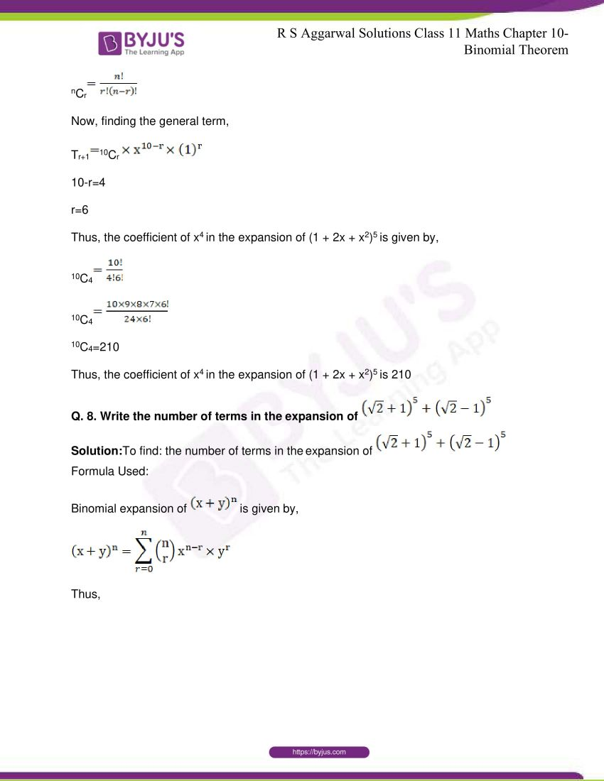 r s aggarwal solutions class 11 maths chapter 10 binomial theorem 87