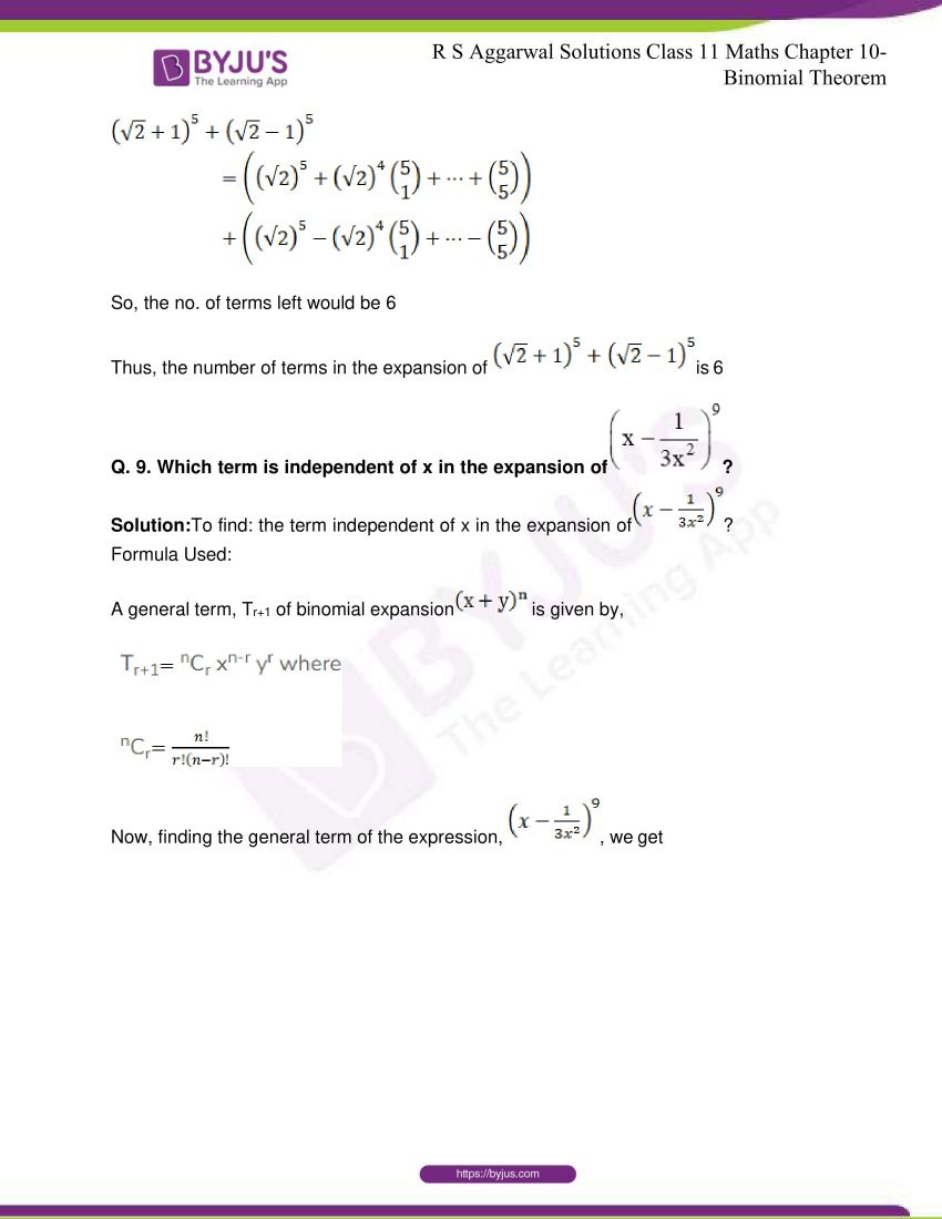 r s aggarwal solutions class 11 maths chapter 10 binomial theorem 88