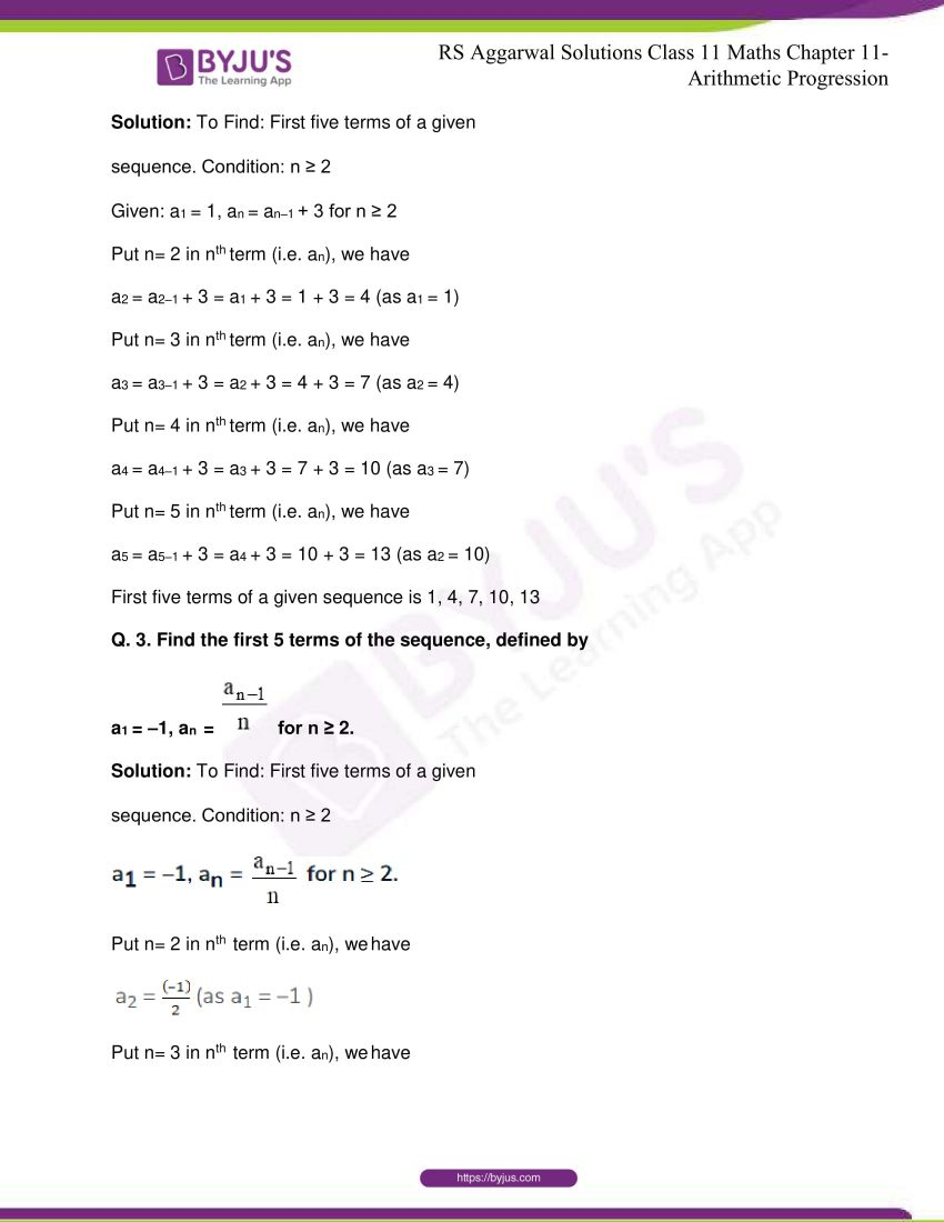 r s aggarwal solutions class 11 maths chapter 11 arithmetic progression 03