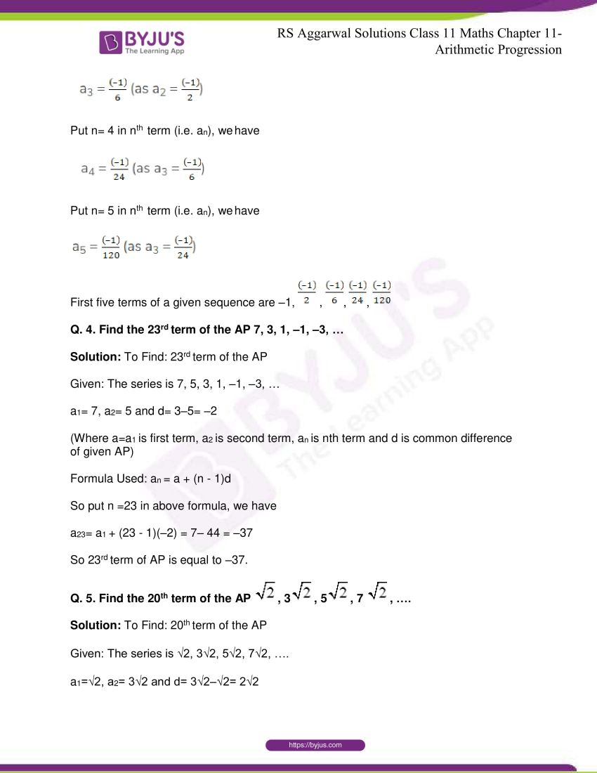 r s aggarwal solutions class 11 maths chapter 11 arithmetic progression 04