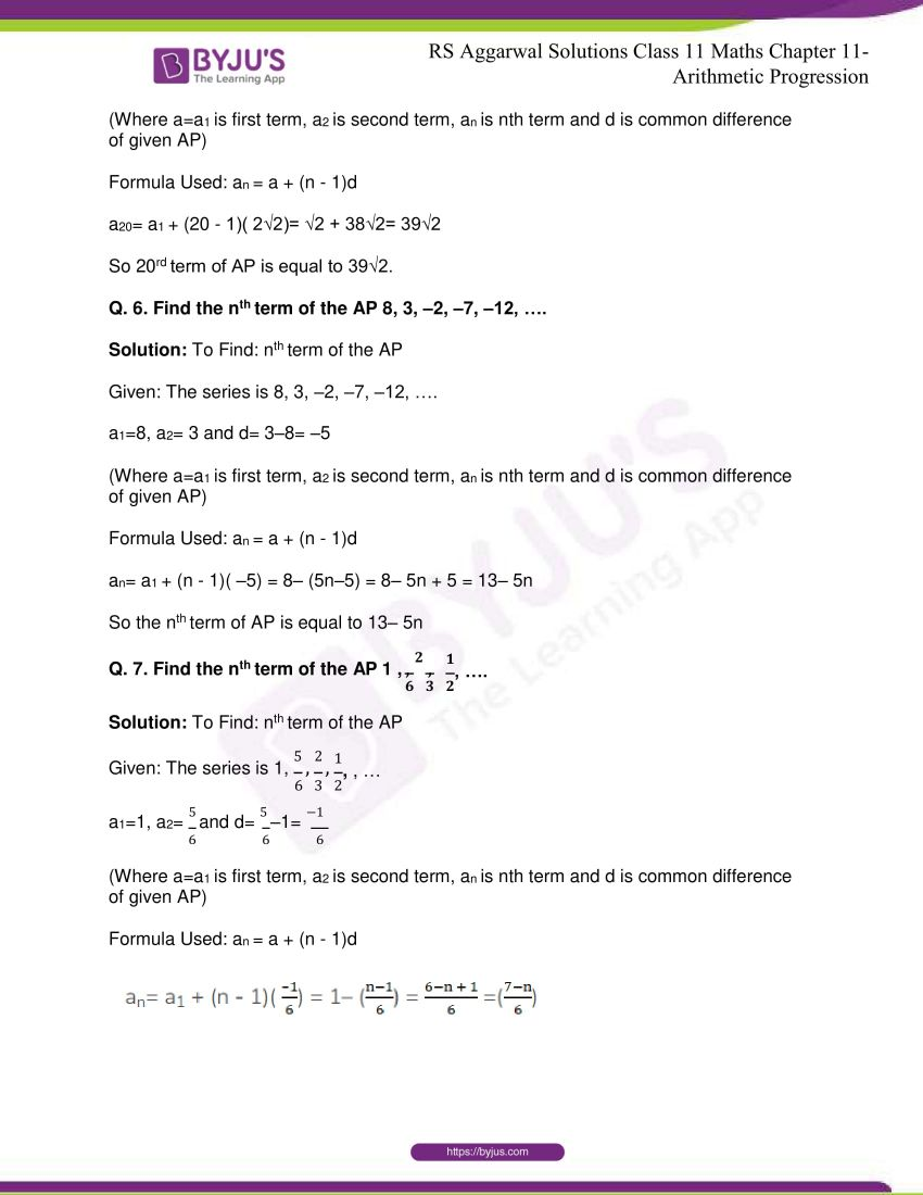 r s aggarwal solutions class 11 maths chapter 11 arithmetic progression 05