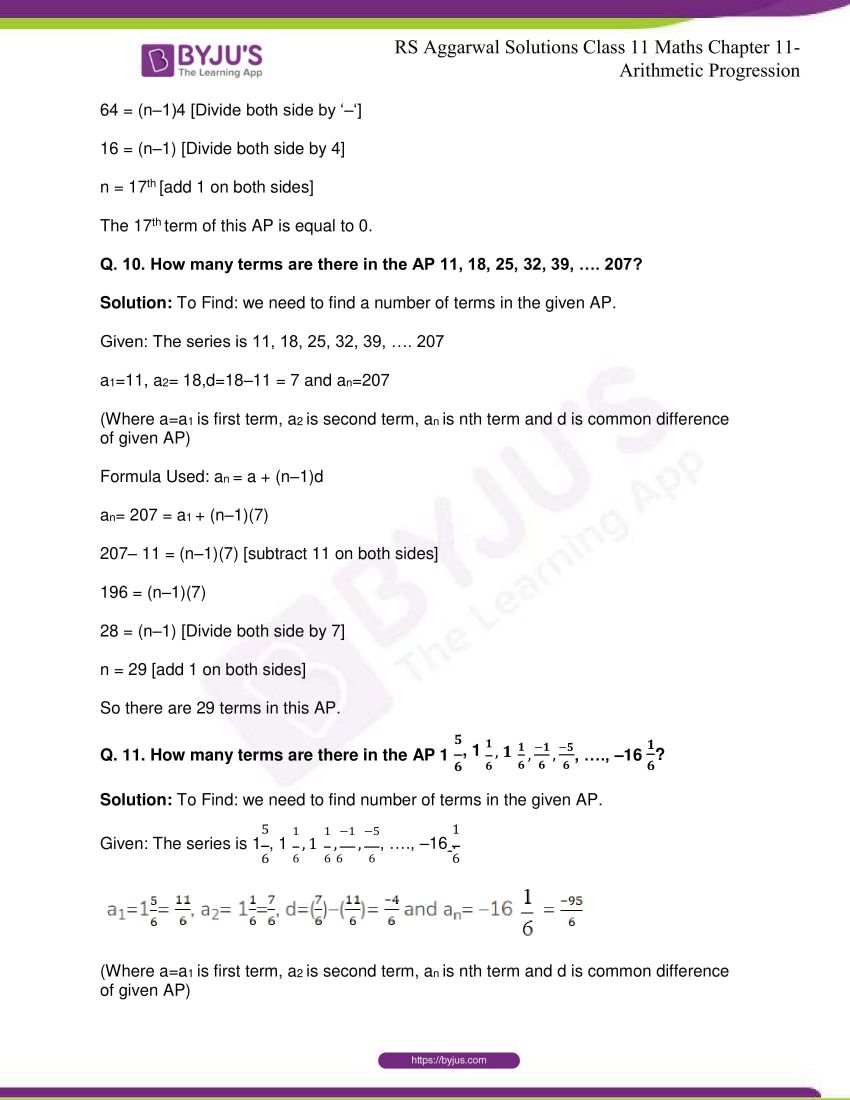 r s aggarwal solutions class 11 maths chapter 11 arithmetic progression 07