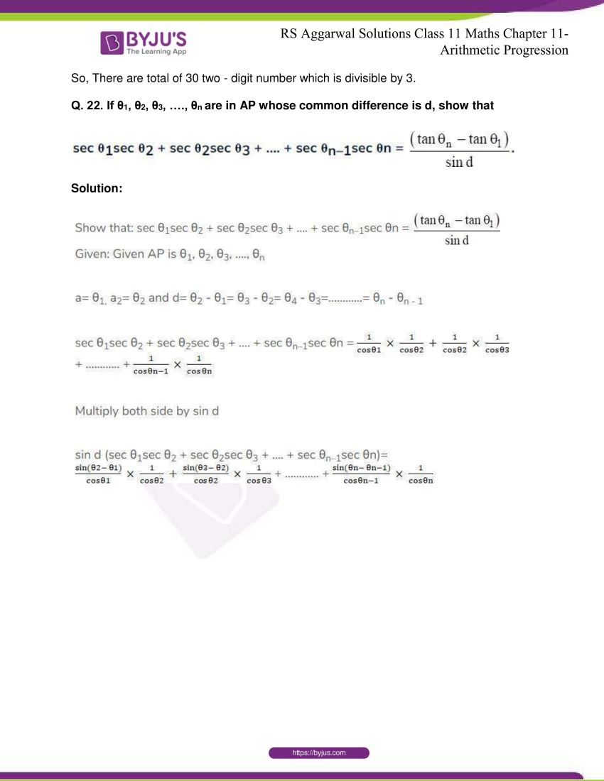 r s aggarwal solutions class 11 maths chapter 11 arithmetic progression 14