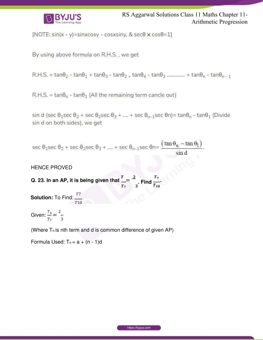 r s aggarwal solutions class 11 maths chapter 11 arithmetic progression 15