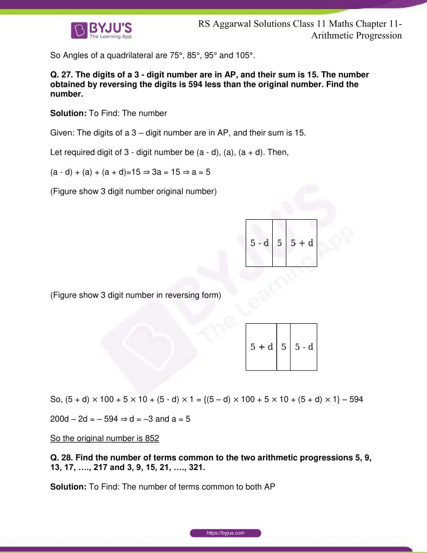 r s aggarwal solutions class 11 maths chapter 11 arithmetic progression 18