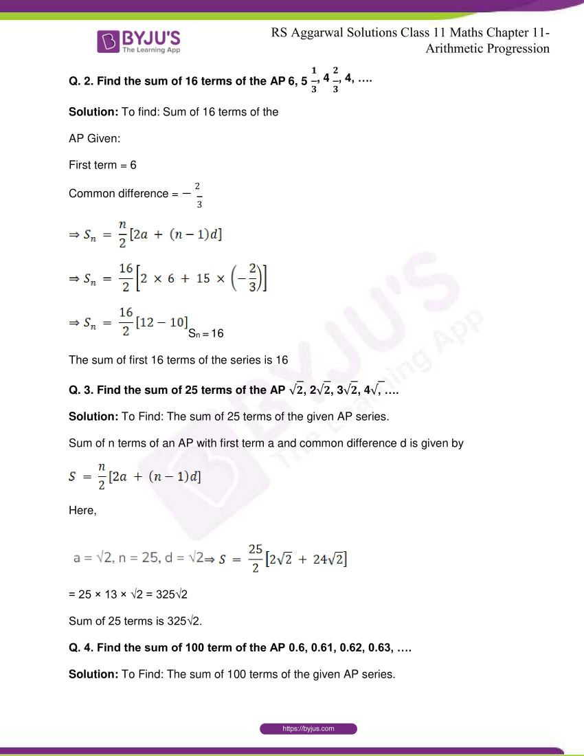 r s aggarwal solutions class 11 maths chapter 11 arithmetic progression 23