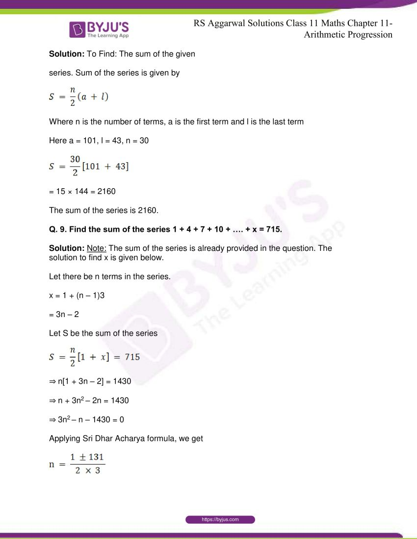 r s aggarwal solutions class 11 maths chapter 11 arithmetic progression 26
