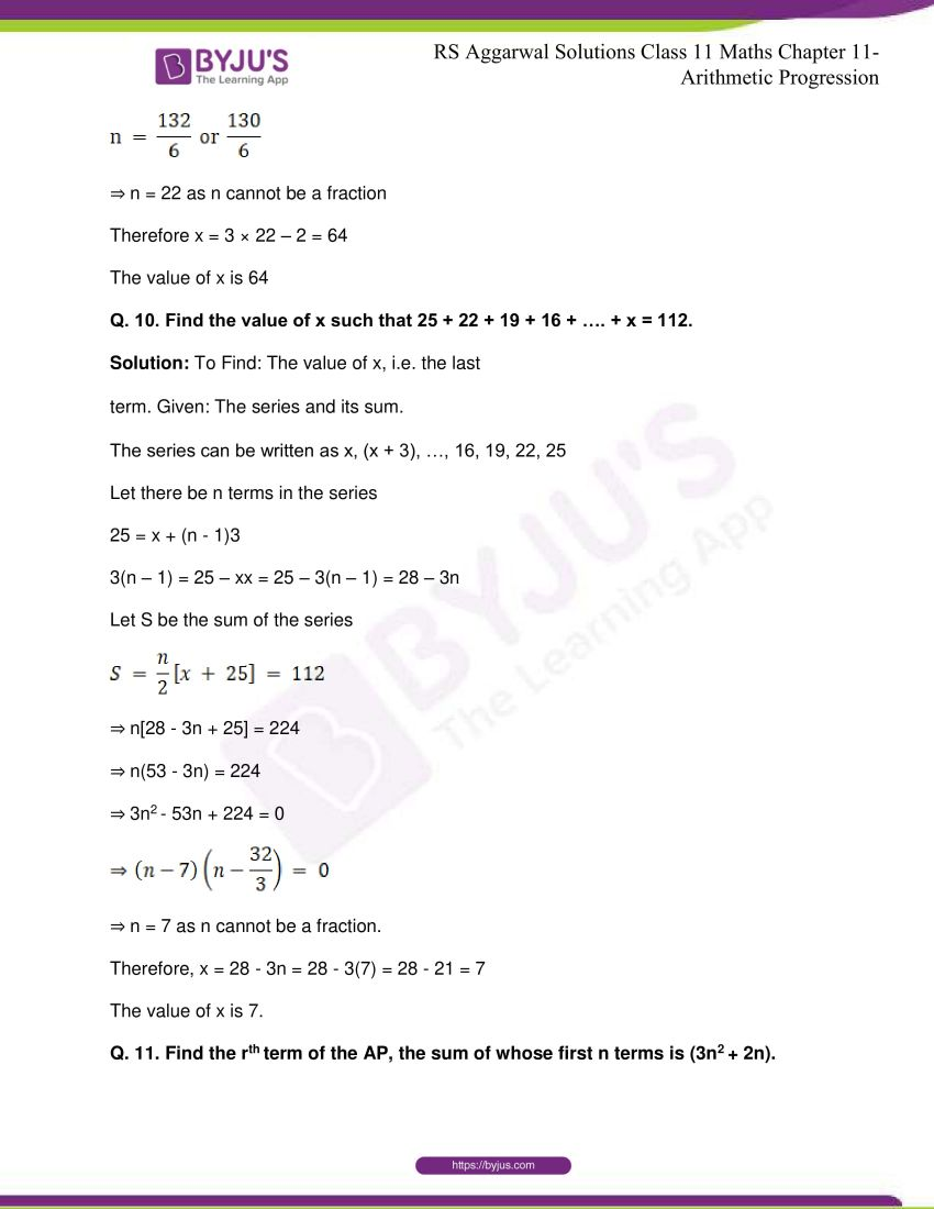 r s aggarwal solutions class 11 maths chapter 11 arithmetic progression 27