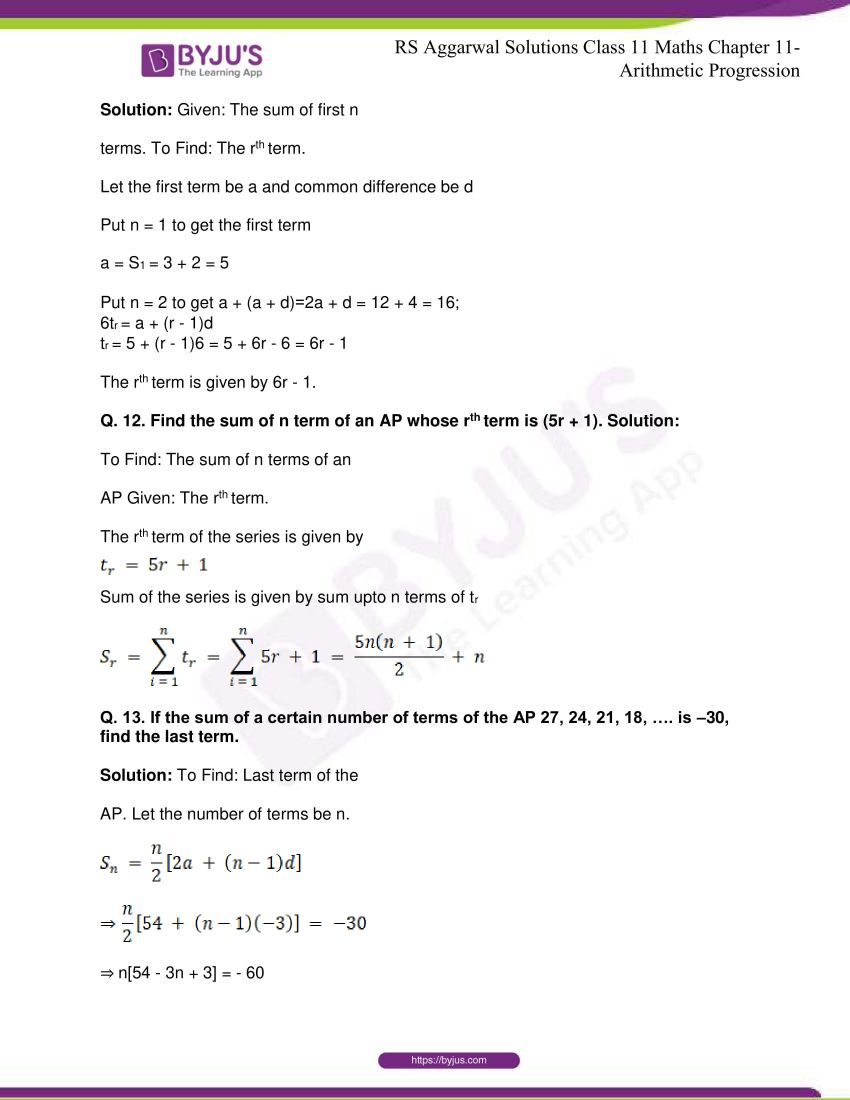 r s aggarwal solutions class 11 maths chapter 11 arithmetic progression 28