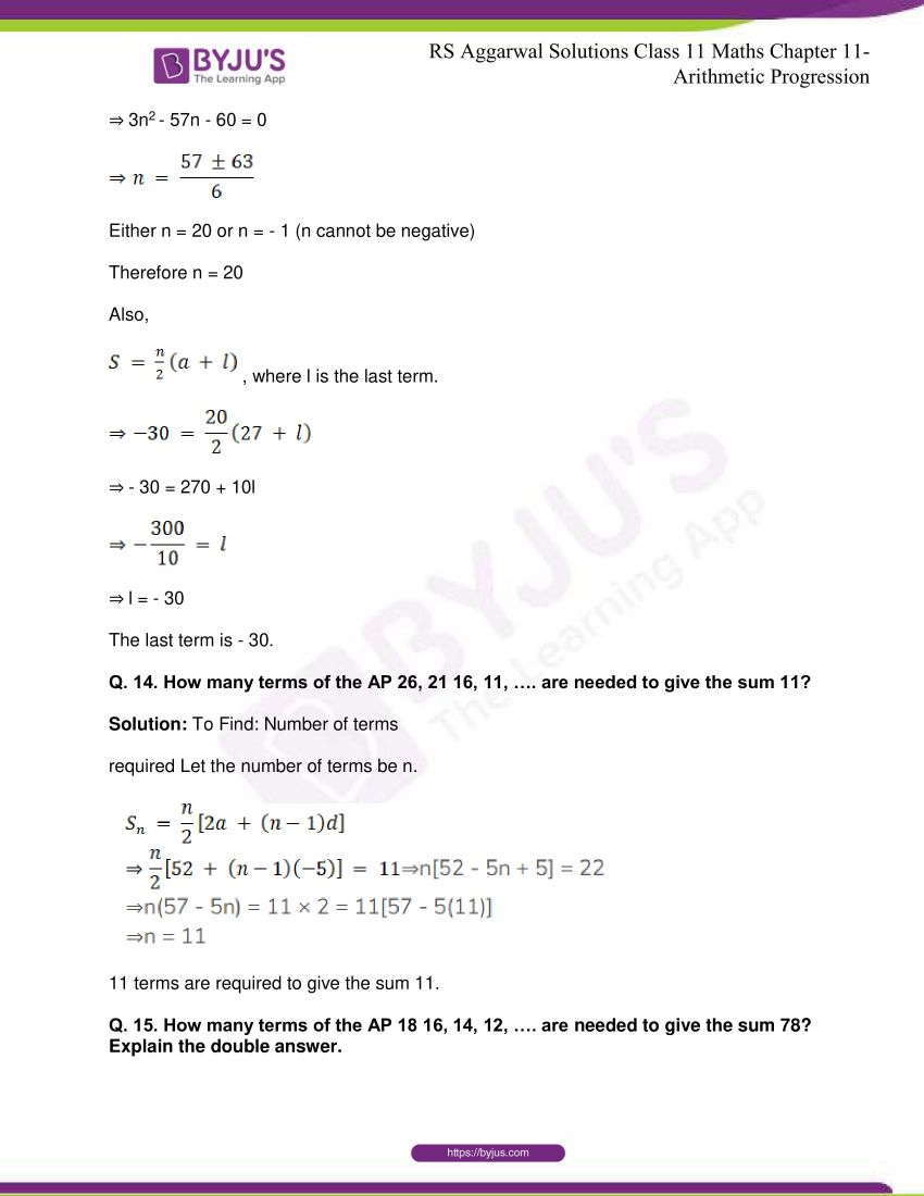 r s aggarwal solutions class 11 maths chapter 11 arithmetic progression 29