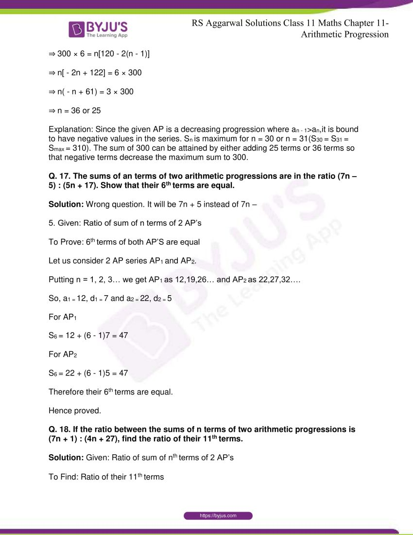 r s aggarwal solutions class 11 maths chapter 11 arithmetic progression 31