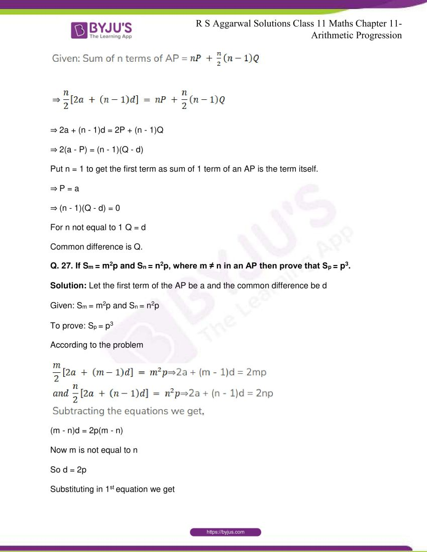 r s aggarwal solutions class 11 maths chapter 11 arithmetic progression 37