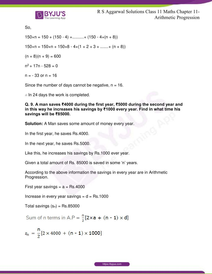 r s aggarwal solutions class 11 maths chapter 11 arithmetic progression 47