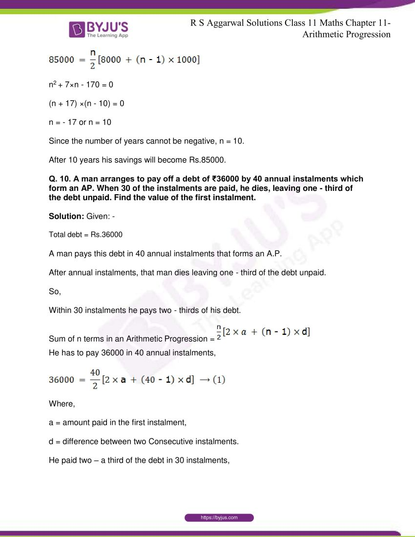 r s aggarwal solutions class 11 maths chapter 11 arithmetic progression 48