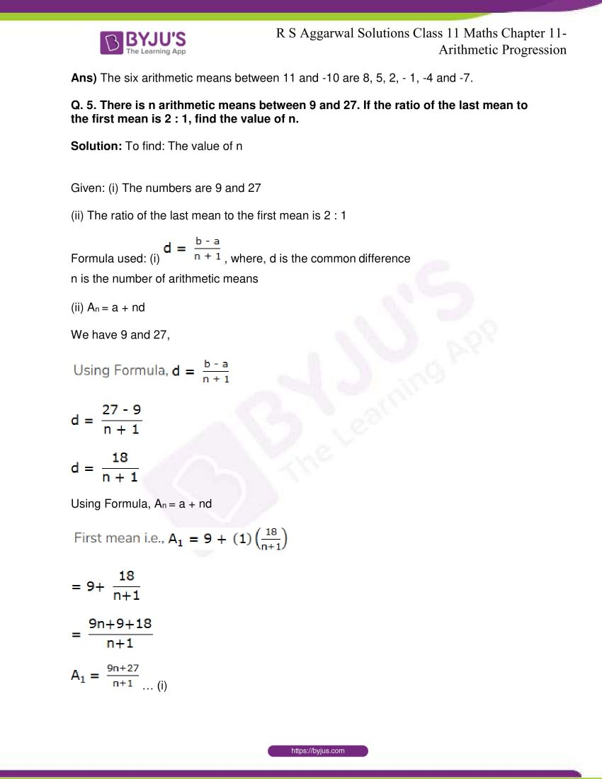 r s aggarwal solutions class 11 maths chapter 11 arithmetic progression 58