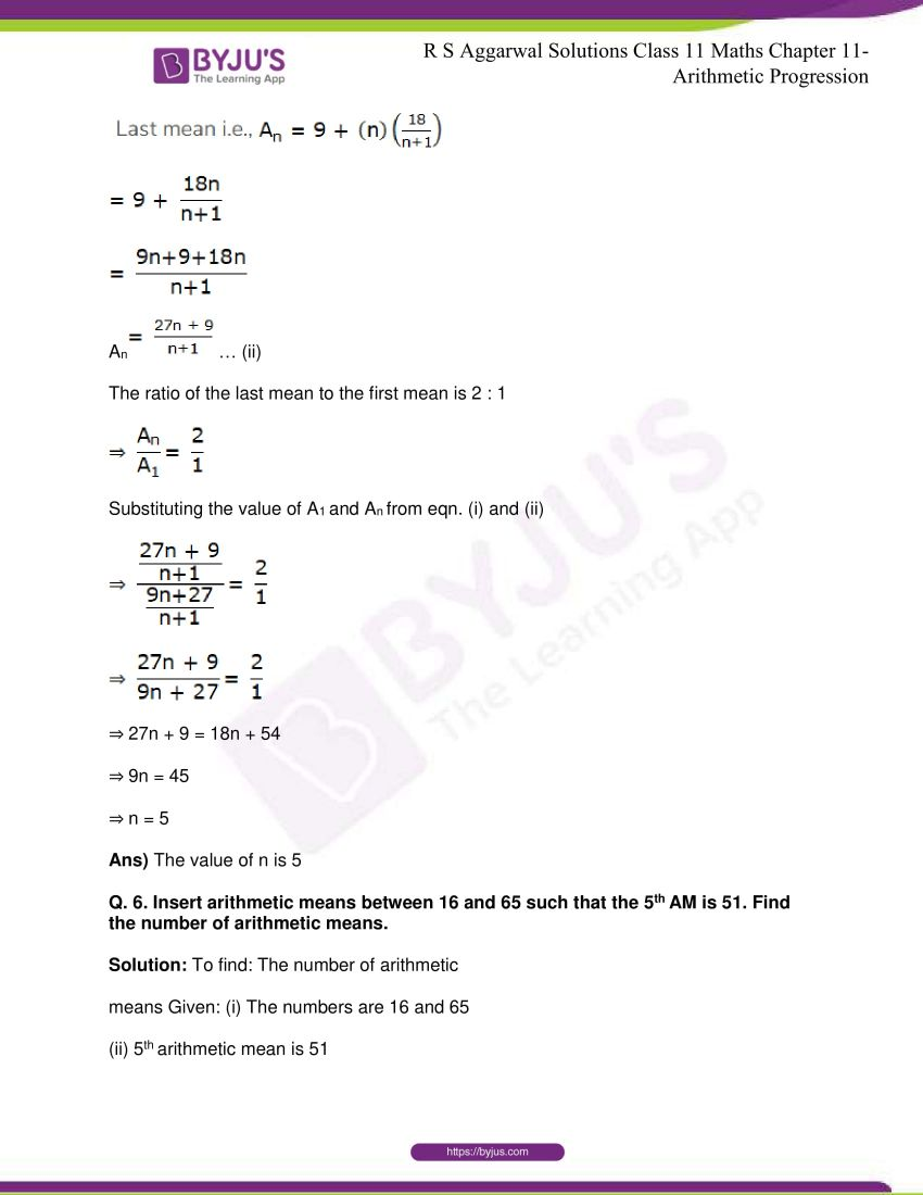 r s aggarwal solutions class 11 maths chapter 11 arithmetic progression 59